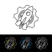 Space rocket shuttle logo logotype Stock Illustration
