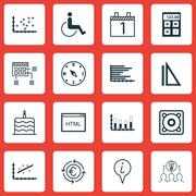 Set Of 16 Universal Editable Icons. Can Be Used For Web, Mobile And App Desig Stock Illustration