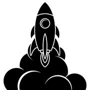 Space rocket shuttle logo logotype Stock Illustration