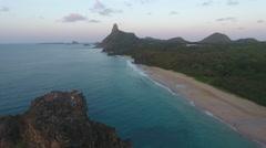 Descending Past Gigantic Rocky Brazilian Islands Cliff Stock Footage