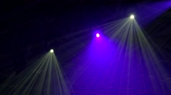 Spectacular light show from the stage lighting rig Stock Footage