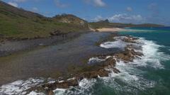 Exotic Brazilian Rocky Beach With Crashing Waves Stock Footage