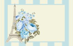 Eiffel tower card Stock Illustration