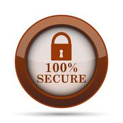 100 percent secure icon. Internet button on white background. . Stock Illustration