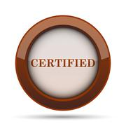 Certified icon. Internet button on white background. . Stock Illustration