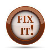 Fix it icon. Internet button on white background. . Stock Illustration