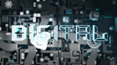 Digital Concept with dark futuristic circuit board Stock Footage