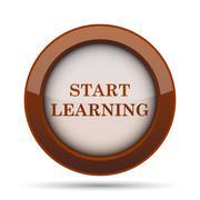 Start learn icon. Internet button on white background. . Stock Illustration