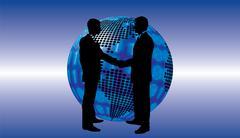 Shake hand digital globe background beautiful banner wallpaper design illustr Stock Illustration