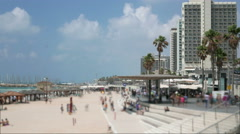 Tel Aviv city Israel beach board walk time lapse Stock Footage