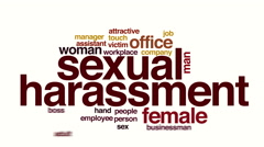 Sexual harassment animated word cloud Stock Footage
