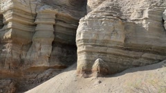 Ancient sedimentary rock Jordan River Stock Footage