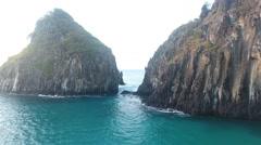 Low Between Gigantic Rocky Brazilian Islands Cliffs Stock Footage