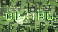 Digital Concept with illuminated green futuristic circuit board Stock Footage