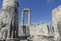View of Temple of Apollo in antique city of Didyma Stock Photos