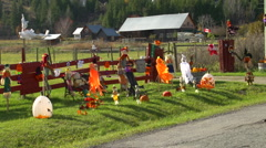 Halloween decorations on a rural farm, montage Stock Footage