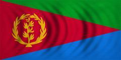 Flag of Eritrea wavy, real detailed fabric texture Stock Photos