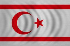 Flag of Northern Cyprus wavy, real fabric texture Stock Photos