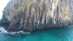 Rising Past Gigantic Rocky Brazilian Islands Cliff Stock Footage