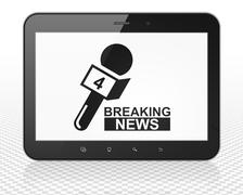 News concept: Tablet Pc Computer with Breaking News And Microphone on display Stock Illustration