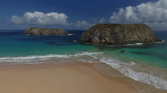 Sandy Brazilian Beach With Two Islands Stock Footage
