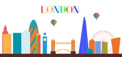 UK, Silhouette London city background. Vector Illustration Piirros