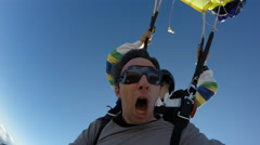 Skydive tandem opening Stock Footage