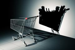 Empty Shopping Cart Cast Shadow On The Wall As Shopping Cart Full Of Food Piirros