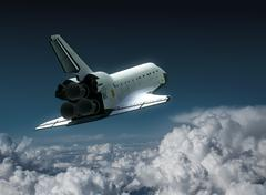Space Shuttle In The Clouds Stock Illustration
