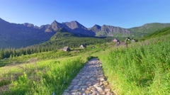 Little huts in the Tatra mountains, Poland Stock Footage