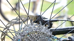 Close up of a mountain biker taking his bike Stock Footage
