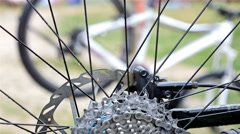 Detail of the wheel of a mountain bike Stock Footage