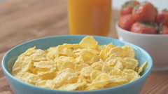 Slow-motion strawberry into milk Stock Footage