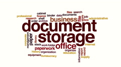Document storage animated word cloud Stock Footage