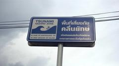 Phuket Island, Thailand. 7th October 2016. Tsunami warning signs at Patong Beach Stock Footage