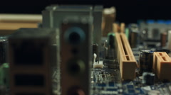 Electronics components on modern PC computer mainboard Stock Footage