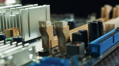 Memory slots on motherboard with chipset and wired connection Stock Footage