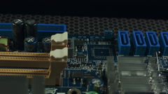Closeup of SATA connectors on a motherboard Stock Footage