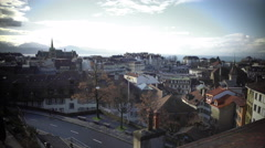 Old European city from above, building rooftops and streets on sunny autumn day Stock Footage