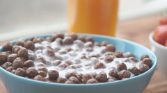 Healthy and tasty breakfast - chocolate cereals Stock Footage