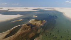 Strange Sand Dune And Water Wilderness Island with Cows Stock Footage