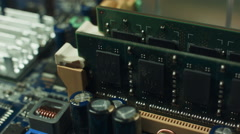 RAM Memory Module Installed On Computer Motherboard Stock Footage