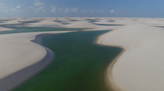 Stunning Strange Sand Dune And Water Wilderness With Horse and Hikers 002 Stock Footage