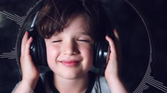 4k Child Putting on Headphones with  Music and Audio Wave Animation Stock Footage