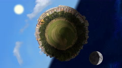 Tiny planet world panorama in day and night, seamless loop animation Stock Footage