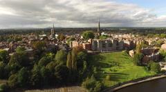 Shrewsbury Aerial crane shot Stock Footage