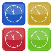 Four square color icons, last minute clock Stock Illustration