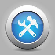 Blue button, white claw hammer with spanner icon Stock Illustration