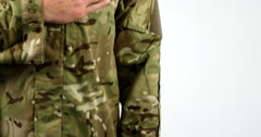 Soldier taking pledge on white background Stock Footage
