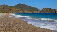 Cirali pebble Beach. Mediterranean Sea. Kemer. Antalya. Turkey Stock Footage